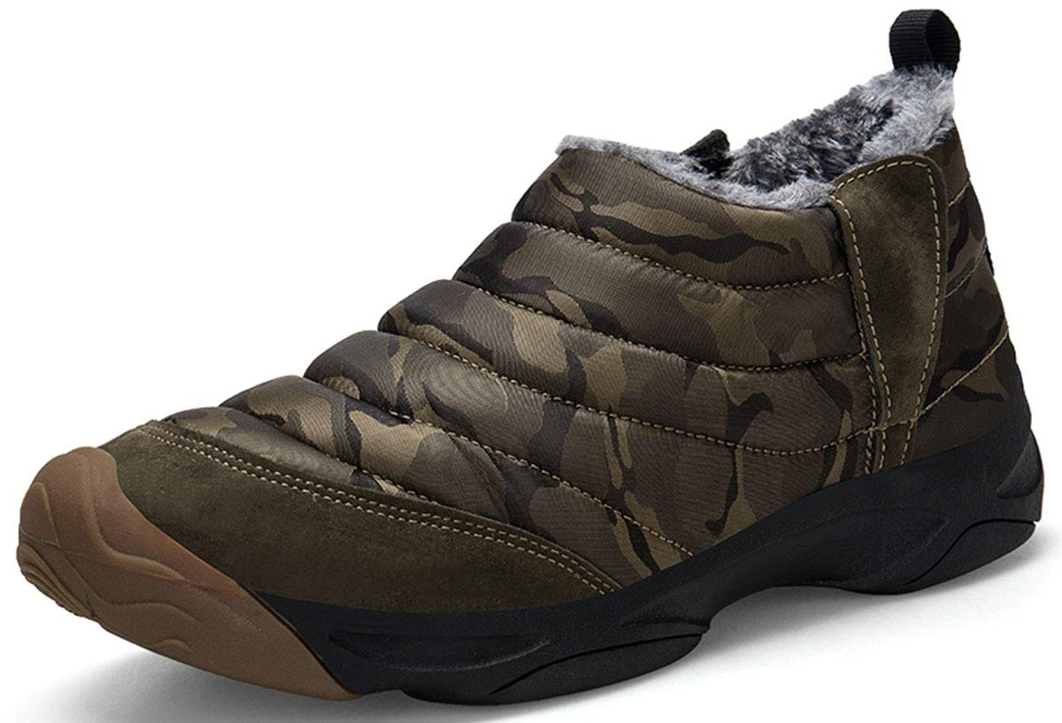 Mens Camouflage Slip-on Ankle Boots Fully Fur Lined Snow Boots Winter Warm Cotton Shoes