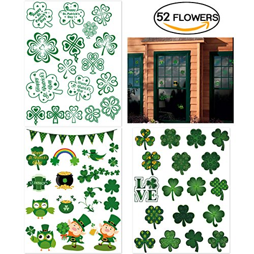 PBPBOX St Patrick's Day Decorations Shamrock Clings 52 Pcs Removable Window Clings 3 Sheet