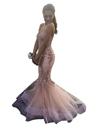 XingMeng Strapless Lace Appliques Prom Evening Dresses Mermaid Bridal Gowns Pink US 2