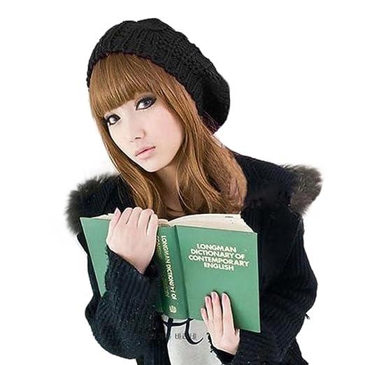 f0ebd8bf20c76 Women s Lady Knitted Beret Braided Baggy Beanie Crochet Hat Ski Cap (Black)