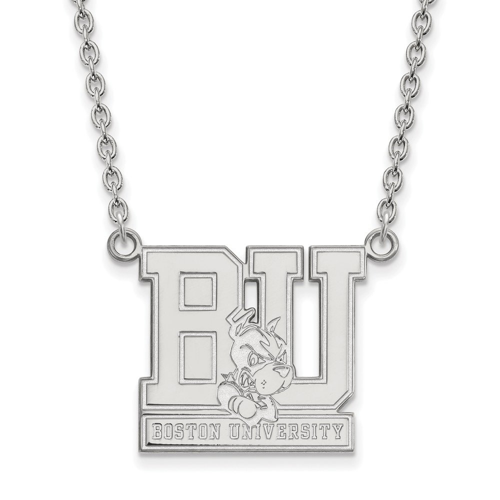 Mia Diamonds 925 Sterling Silver LogoArt Boston University Large Pendant with Necklace