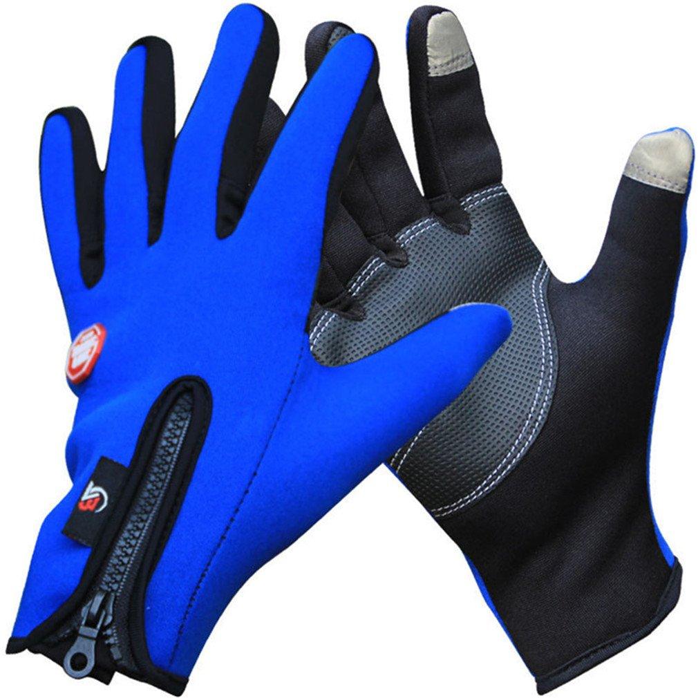 designbestyeアウトドア冬熱スポーツバイクグローブ防風暖かいフル指サイクリング Large ブルー B07CSSW5JM
