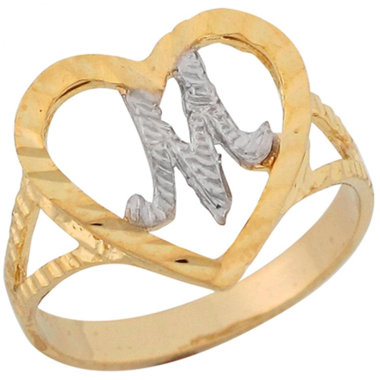 10k Two Tone Gold 1.36cm Fancy Script Letter M Beautiful Heart Initial Ring