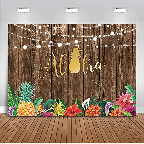 Mocsicka Luau Backdrop 7x5ft Vinyl Tropical Party Hawaiian Birthday Summer Party Photo Backdrops Aloha Hula Pineapple Wooden Wall Photography Background -
