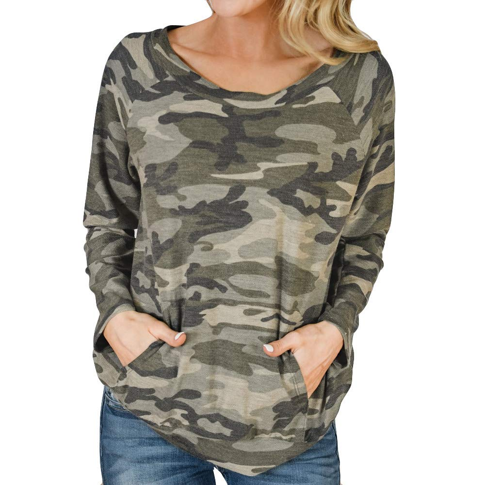 Women's Camouflage Long Sleeve Sweatshirt,Zlolia Round Neck Pocket Pullover Ladies' Casual Autumn Winter Tops by Zlolia-Blouses