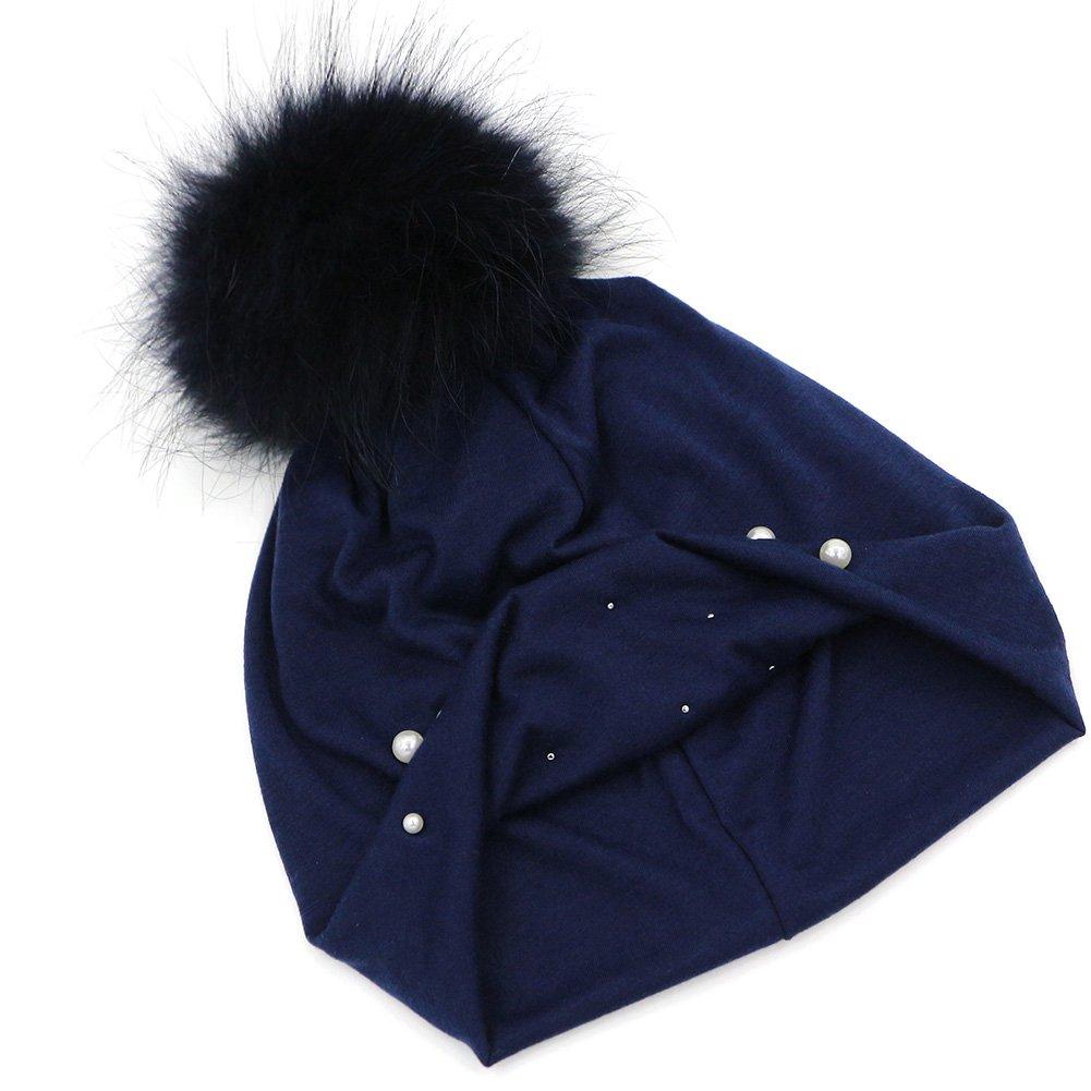 GZHILOVINGL Women Spring Hat Sparkling Pearls Slouchy Real Pom Pom Beanie Cap