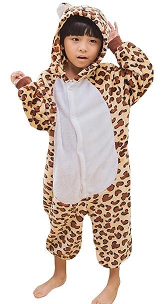 DATO Niños Ropa de Dormir Pijama Cosplay Disfraz Oso Leopardo Animal Unisexo