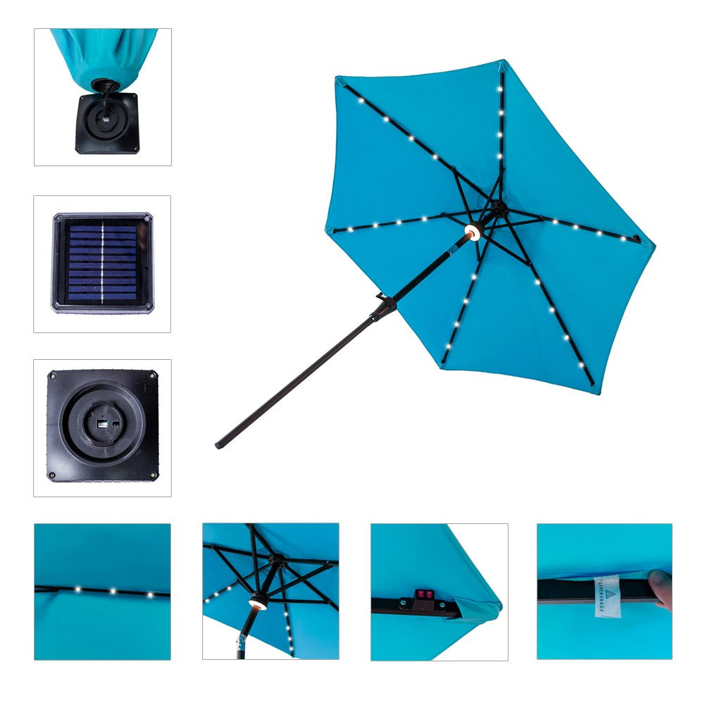 FLAME SHADE 7 6 Round Solar Power LED Light Outdoor Patio Market Umbrella Crank Lift Push Button Tilt Aqua Blue