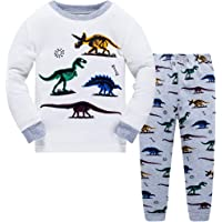 Boys Pyjamas Set Dinosaur Kids Clothes Glow in The Dark Toddler Pjs for boy 100% Cotton Long Sleeve Sleepwear 2 Piece Outfit 1 to 10 Years