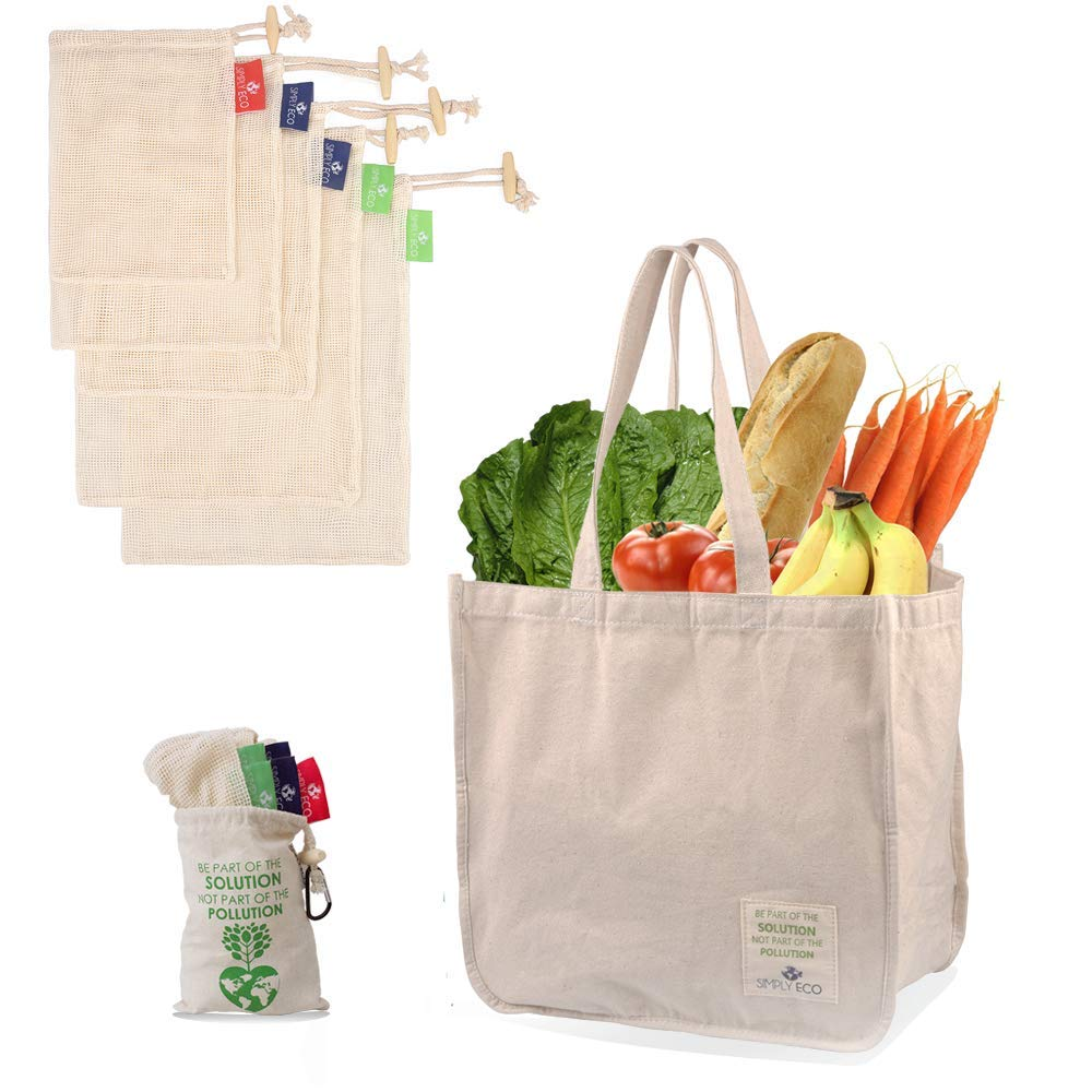 SIMPLY ECO Sturdy Reusable Canvas Shopping Tote Bag for Groceries and Cotton Reusable Mesh Produce Bags with Drawstring for Fruits and Veggies (L,M.S)