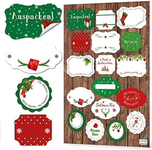 Logbuch-Verlag 68 Weihnachtsaufkleber Aufkleber FROHE WEIHNACHTEN grün rot weiß Geschenkaufkleber Sticker Verpackung Weihnachtsgeschenke Etiketten