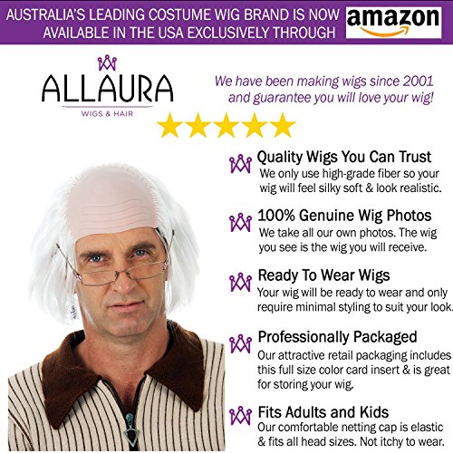 Old Man Wig Benjamin Franklin Wigs or Albert Einstein Costume – Bald Grandpa by ALLAURA (Image #2)