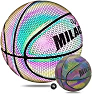 MILACHIC Basketball, Holographic Reflective Glowing Basketball Glow in The Dark Official Size 7/29.5in, Specia