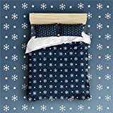 Libaoge 4 Piece Bed Sheets Set, Retro White Snow Flake on Navy Background Print, 1 Flat Sheet 1 Duvet Cover and 2 Pillow Cases