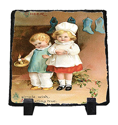 A Greeting True Christmas Card Stone Slate Plaque Picture
