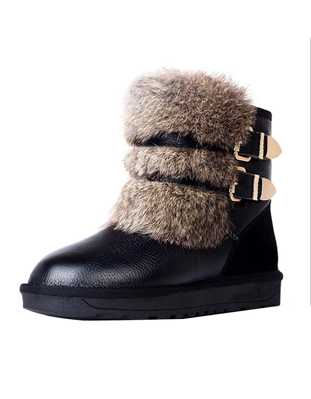 Ashlen Women's Warm Fur Double Buckles Leather Short Snow Boot Snow Booties