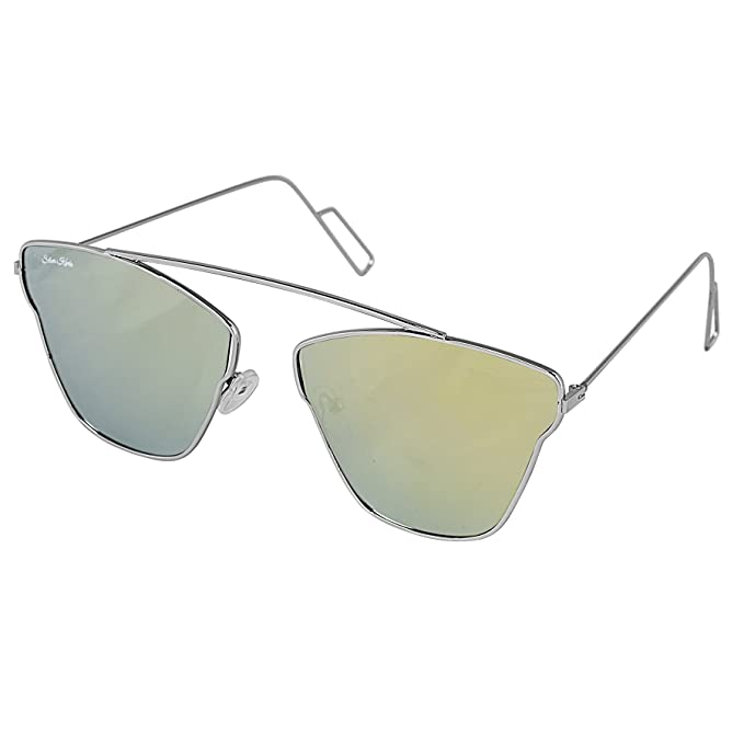 791d8cfd8c Silver Kartz Green Mercury Silver Metallic Single Bar Unisex Aviator  Sunglasses (wy196)  Amazon.in  Clothing   Accessories