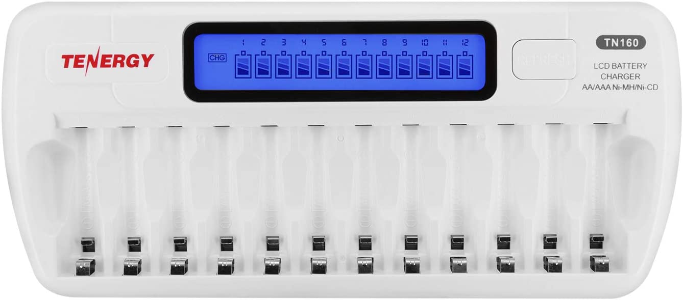 Amazon Com Tenergy Tn160 Lcd Battery Charger 12 Bay Smart Battery Charger For Aa Aaa Nimh Nicd Rechargeable Batteries Charger With Refresh Function Household Battery Charger W Ac Wall Adapter Electronics