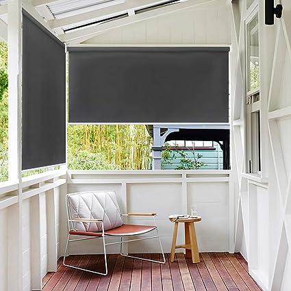 HENGMEI 100X140cm Balkon Sichtschutz Sonnenschutz Sichtschutzrollo  Senkrechtmarkise Wasserdicht Windschutz vertikal Sonnensegel für Balkon  Terrasse, ...