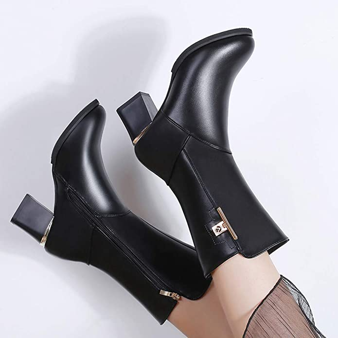 Damen Mittlerer Stiefel Mumuj Elegante SAMT Warme Pumps Martin Stiefel  Schicke Heiße Quadratische Ferse Leder Reißverschluss Schuhe Dicke Hohe  Stiefel Runde ... 8c7b8dfaca