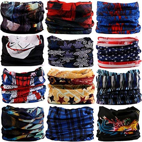 6PCS/8PCS/9PCS/12PCS Seamless Headband camo Bandanas Headwear for Men&Women Neckwarmer Scarf 16-in-1 Multifunctional for Music Festivals Raves Neck Gaiter Magic Scarf Fishing Mask (12-5FEATHER)