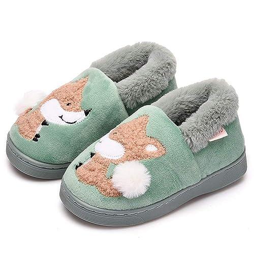 d7c57c7b04b470 XIAO LONG Hausschuhe Mädchen Warme Baumwolle Pantoffeln Kinderhausschuhe  Rutschfeste Home Slippers mit Cartoon für Kinder Jungen