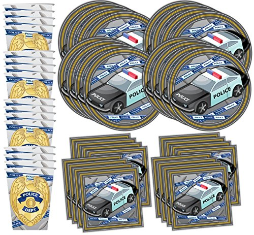 Police Department Cop Birthday Party Supplies Set Plates Napkins Cups Tableware Kit for 16