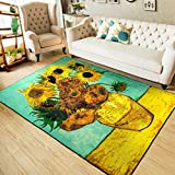 Soft Nylon Area Rugs Contemporary Living & Bedroom Indoor/ Outdoor Shag Rug 8mm Pile Height with Rubber Backing, Anti-Static, Water-Repellent Printed Rugs Sunflower, 3.3'x5′ For Sale