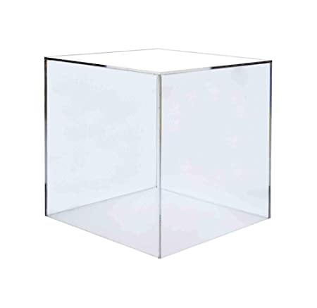 Marketing Holders Pedestal Display Box Showcase Cube Display Collectible Cover Trinkets Trophy Display 5 Sided Square Activity Cube 14 w x 14 h Pack of 1