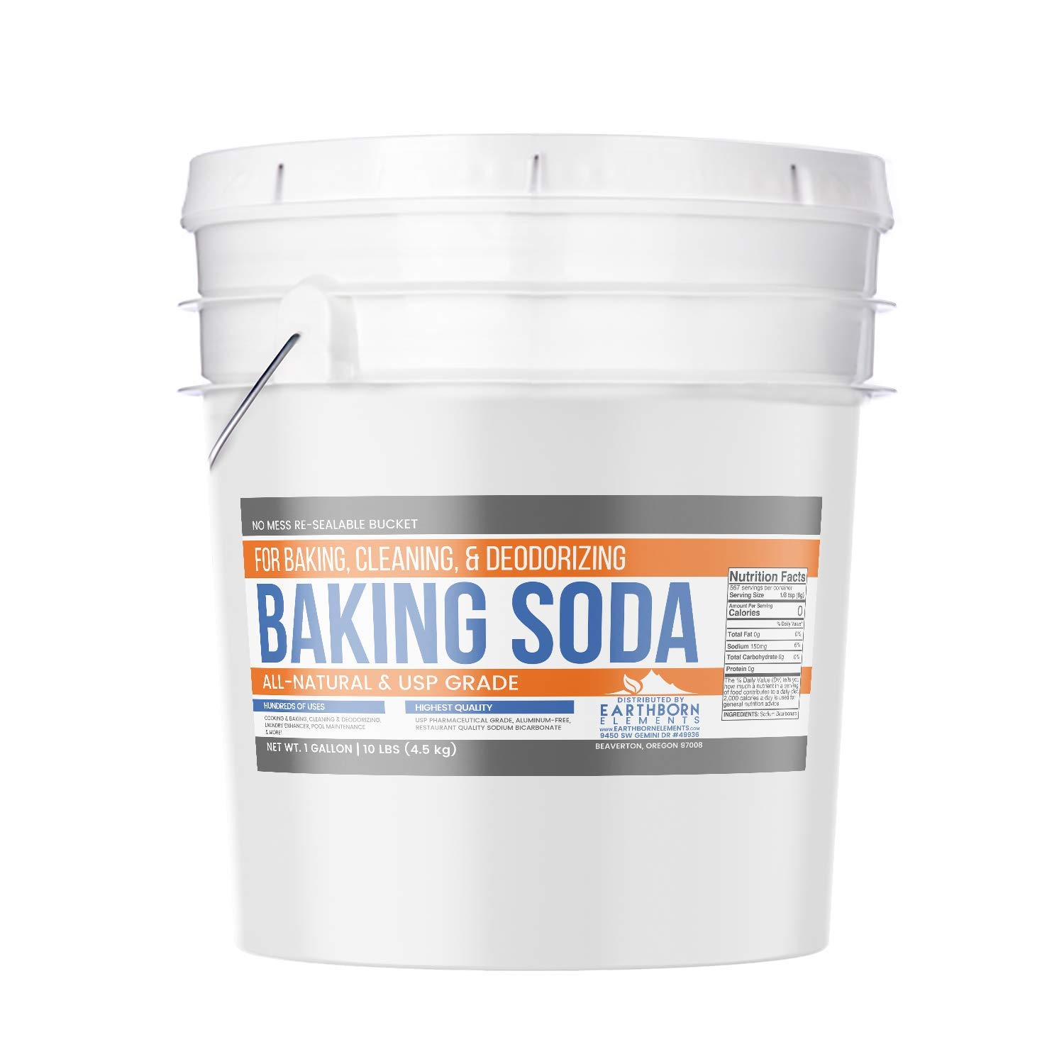 Baking Soda (1 gallon (10 lb)) by Earthborn Elements, All-Natural, USP Pharmaceutical Grade, for Cooking, Baking, Cleaning, Deodorizing, & More