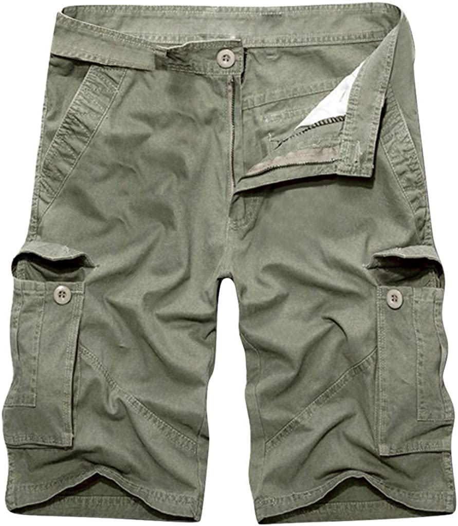 ANKOLA for Man Men/'s Cargo Shorts Slim Fit Multi-Pocket Outdoor Cotton Cargo Shorts