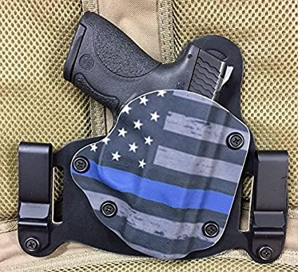 Smith Wesson M&P Shield 45 ACP IWB/OWB Holster, Thin Blue Line Kydex Bridle  Leather Backer, Inside The Waistband or Outside The Waistband Concealed