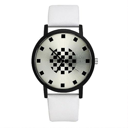Walfront Reloj de Pulsera de Cuarzo para Hombre y Mujer Reloj de Estilo Simple Correa de PU para Pantalla Analógica Juego de Esfera para Personalidad con ...