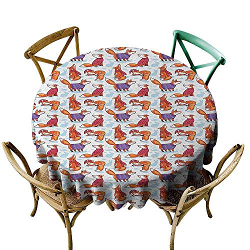 Oncegod Spillproof Tablecloth Fox Snow Foxes with Winter Sweaters and Scarf Cartoon Vulpe Friends in Cozy Environment Modern Minimalist 67 INCH Multicolor