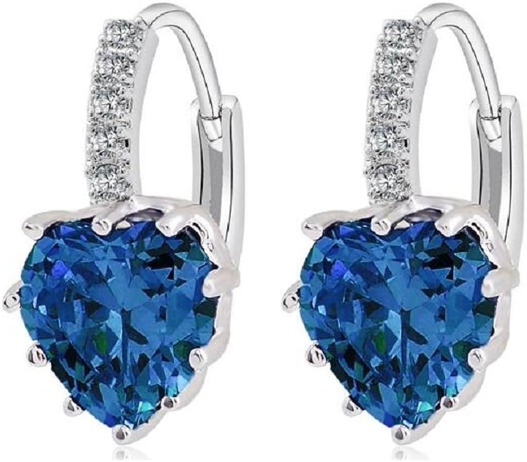 Uloveido Corazón azul cristal nupcial Dangel pendientes para mujer platino plateado moda mujer joyería regalos BME131