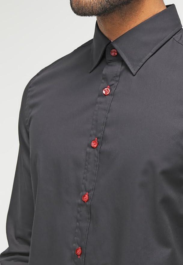 Pier One Camisa de Hombre de Corte Slim Fit en Azul Negro, Talla M ...