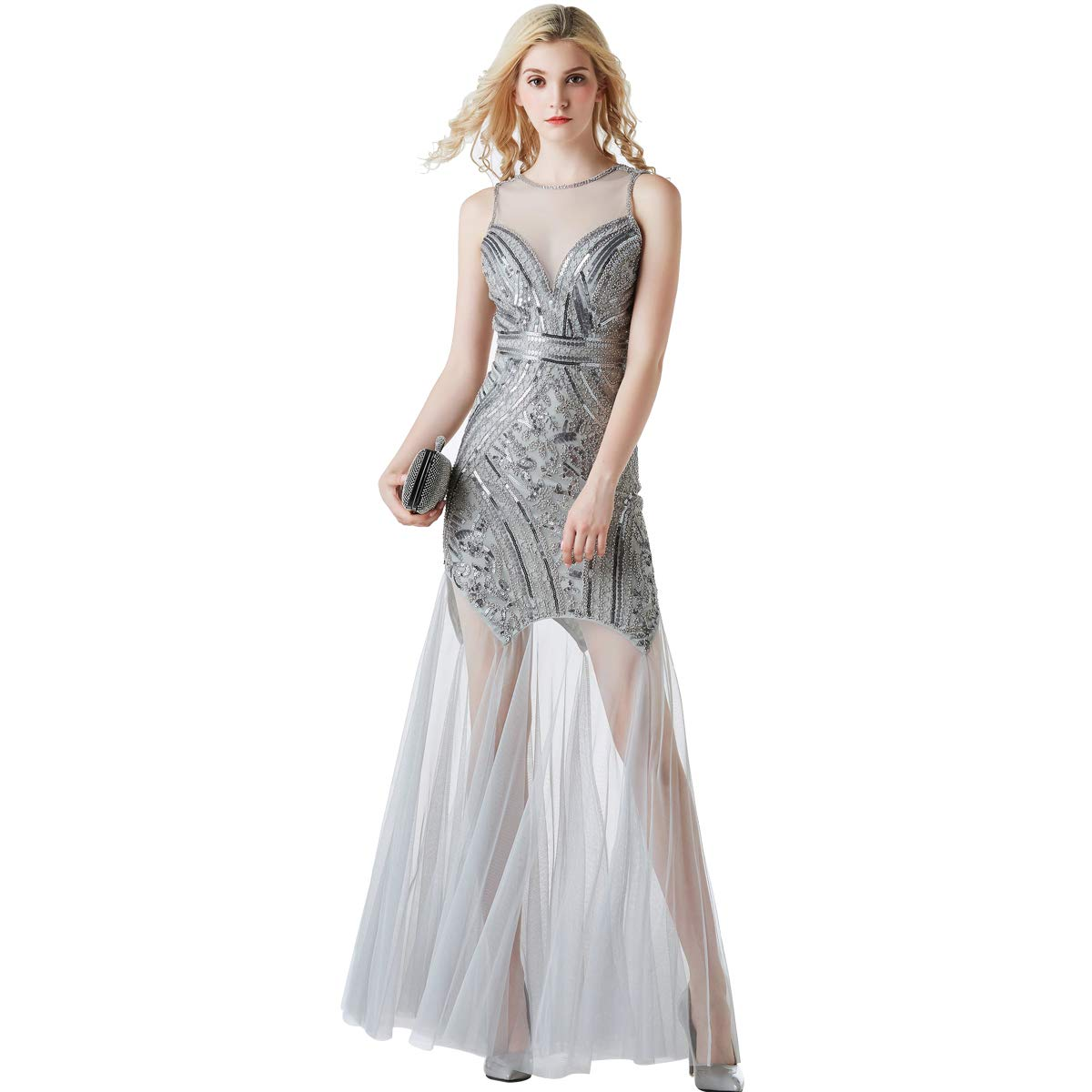 1920s Sequin Gatsby Maxi Long Evening Dress Semi Formal Wedding Dresses for  Women at Amazon Women s Clothing store  f44c17796