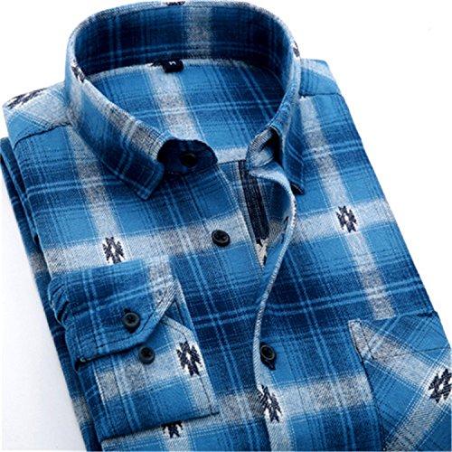 Carterd Air PermeabilityFlannel Plaid men casual shirts England Stylish Regular