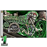 Hot Leathers 2018 Sturgis Motorcycle Rally #1 Design Skeleton Chief 3′ x 5′ Flag For Sale