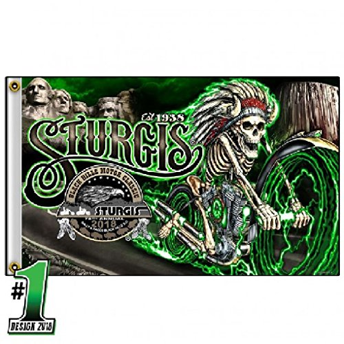 - Hot Leathers 2018 Sturgis Motorcycle Rally #1 Design Skeleton Chief 3' x 5' Flag