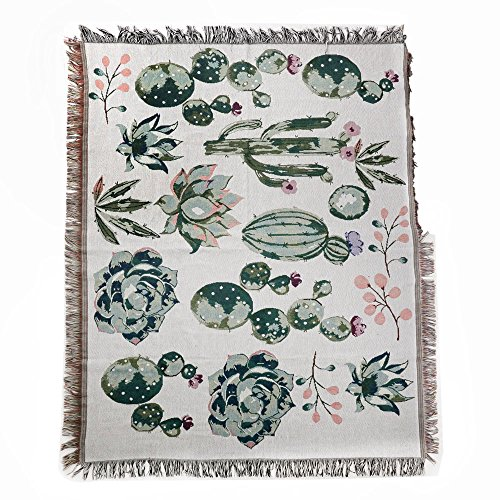 Tapestry Wall Hanging,Handicrafts Tapestry, Jacquard Throw Blanket,Succulent Tapestry, Multipurpose Soft Travel Mat, Outdoor Shawl Blanket Colourful Tassels Wall Rug Cactus Mat 50x60 inch(Cactus) ()