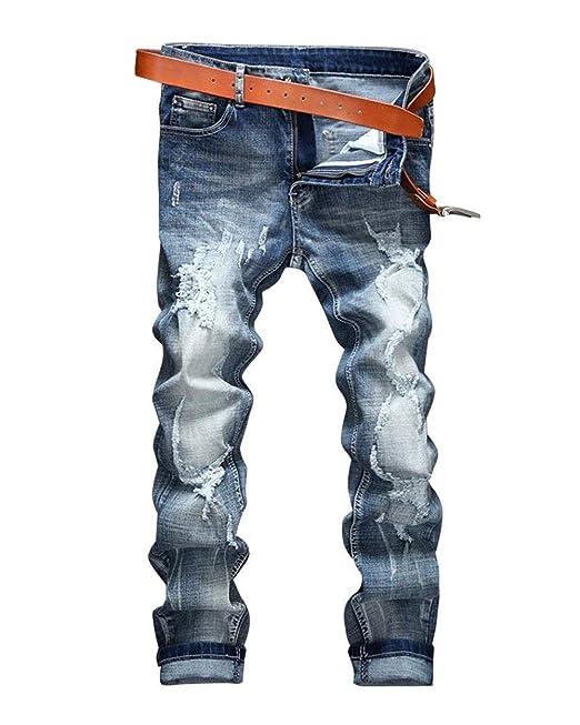 10f1a95373253 Trous De Couleur Claire pour Jeans Pantalons Jeans Hommes Stretch Spécial  Style Jeans Déchirés Pantalons Pantalons