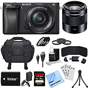 Sony ILCE-6300 a6300 4K Mirrorless Camera w/ 16-50mm Zoom + 50mm Prime Lens Bundle includes Camera, 16-50mm Lens, 50mm Lens, 32GB SDHC Memory Card, Battery, Charger, Bag, Beach Camera Cloth and More