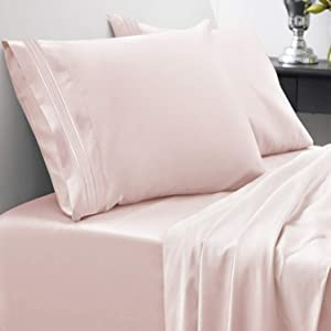 Sweet Home Collection 1800 Thread Count Bed Set Egyptian Quality Brushed Microfiber 3 Piece Deep Pocket Sheets, Twin, Pale Pink