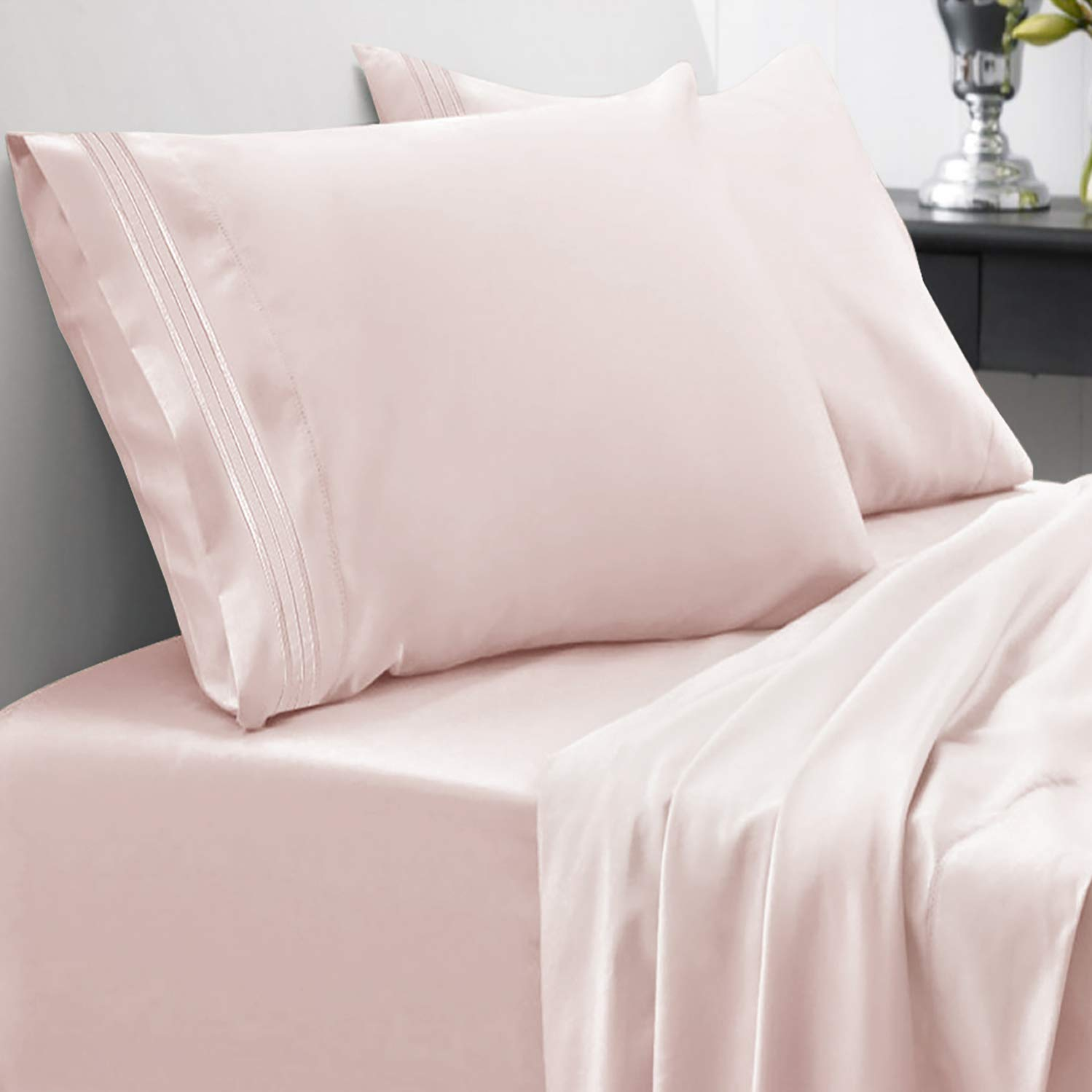 Sweet Home Collection 1800 Thread Count Bed Set Egyptian Quality Brushed Microfiber 4 Piece Deep Pocket Sheets, Full, Pale Pink