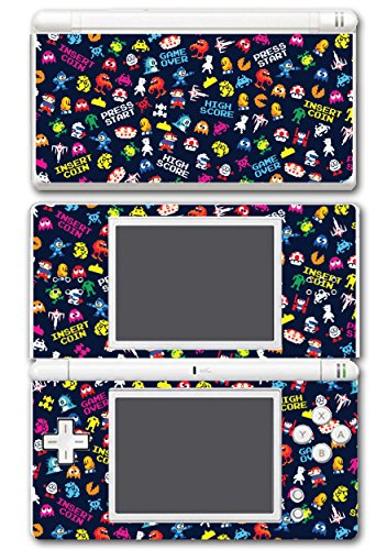 Retro Video Game Pixel Art Mega Man Bubble Bobble Galaga Game Over Insert Coin Mario Video Game Vinyl Decal Skin Sticker Cover for Nintendo DS Lite System
