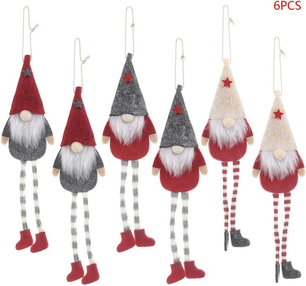 Angelliu 6 Pi/èces Gnomes De Noel Pendentif,Longues Jambes Ornement pour Sapin De No/ël