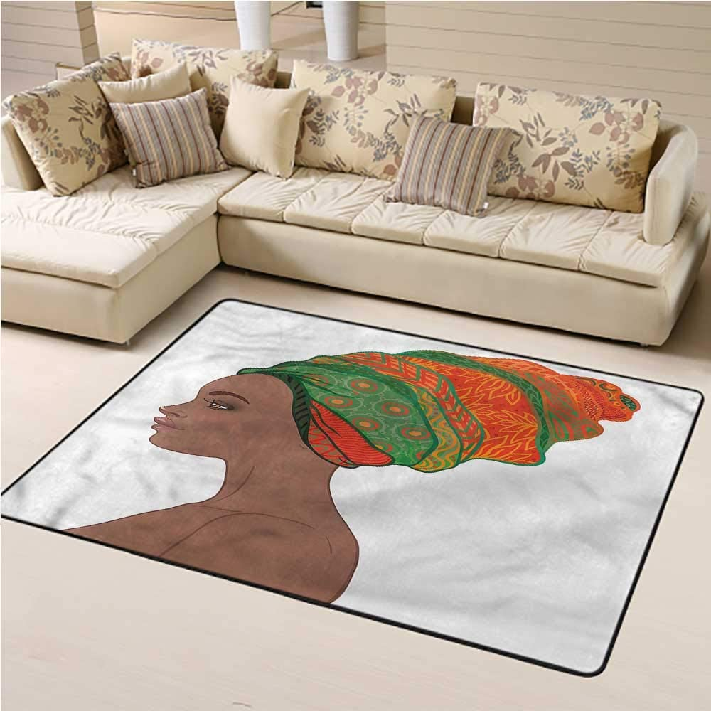 Indoor Outdoor Carpet African Woman for Boys and Girl Room Young Afro Beauty 3' x 5' Rectangle