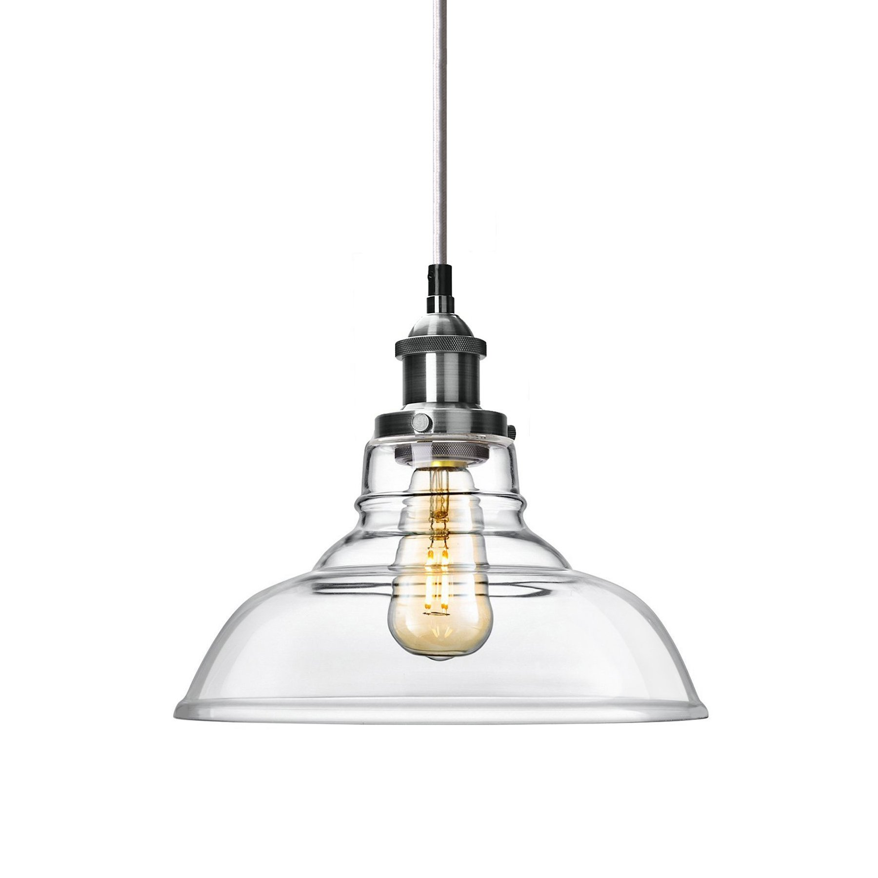 Antique Brushed Nickel Industrial Glass Hanging Pendant Light - with Clear Glass Shade - Edison Bulb Style - Overhanging Mini Lighting Drop Pendant Fixture (Glass Bell)