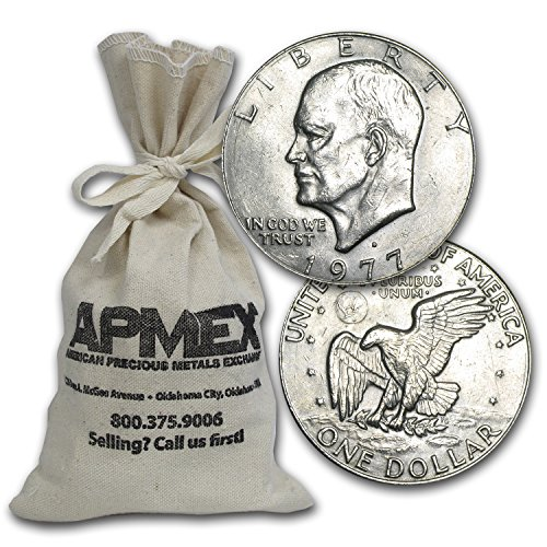 1971-1978 Clad Eisenhower Dollars $100 Face-Value Bags XF-AU $1 Extremely Fine ()